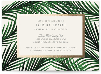 Tropical Love Foil-Pressed Baby Shower Invitations
