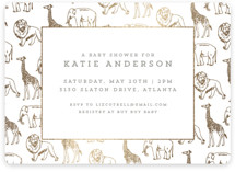 This is a gold foil stamped baby shower invitation by Waldo Press called Animal Parade with foil-pressed printing on signature in standard.