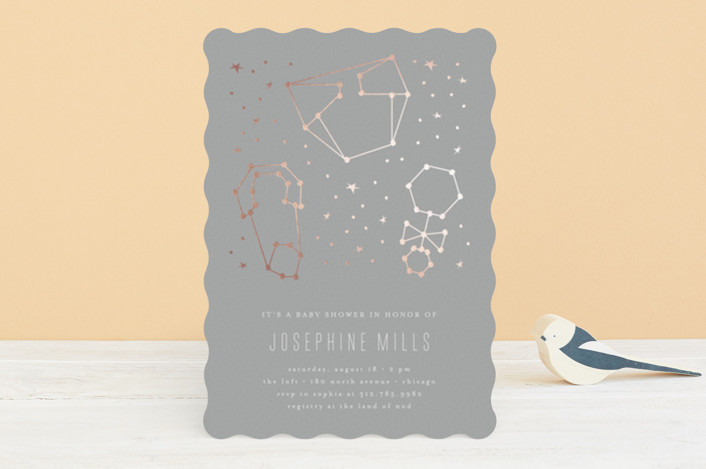 """Celestial"" - Foil-pressed Baby Shower Invitations in Navy by Lehan Veenker."