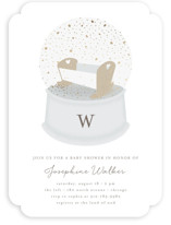 This is a gold foil stamped baby shower invitation by Lehan Veenker called Glitter Globe with foil-pressed printing on signature in standard.