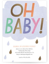 This is a blue foil stamped baby shower invitation by melanie mikecz called Oh Baby! Rain Cloud with foil-pressed printing on signature in standard.