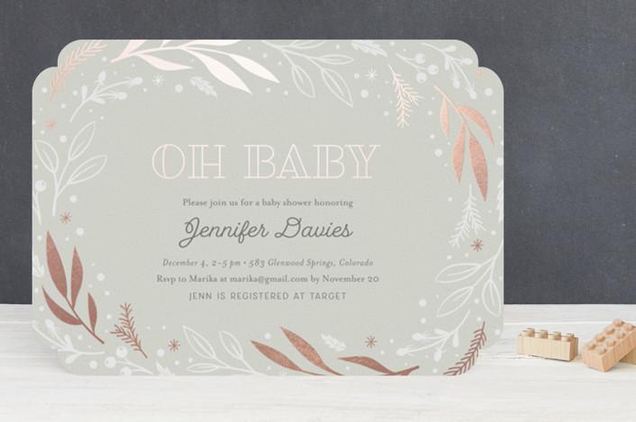"""Festive"" - Foil-pressed Baby Shower Invitations in Sky by Jana Volfova."
