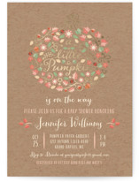 This is a brown foil stamped baby shower invitation by Paper Sun Studio called Little Pumpkin with foil-pressed printing on signature in standard.
