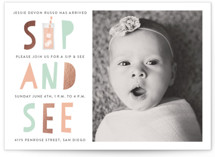This is a green foil stamped baby shower invitation by Erica Krystek called Bright Baby with foil-pressed printing on signature in standard.