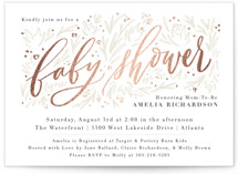This is a white foil stamped baby shower invitation by Julie Murray called Mom-to-Be with foil-pressed printing on signature in standard.