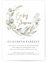 This is a green foil stamped baby shower invitation by Petra Kern called Eucalypta with foil-pressed printing on signature in standard.