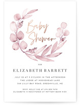 This is a pink foil stamped baby shower invitation by Petra Kern called Eucalypta with foil-pressed printing on signature in standard.