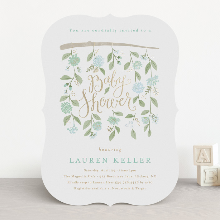 """""""hanging flowers"""" - Foil-pressed Baby Shower Invitations in Peony by Jennifer Wick."""