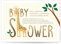 This is a yellow foil stamped baby shower invitation by Erica Krystek called Baby Giraffe with foil-pressed printing on signature in standard.