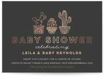 This is a grey foil stamped baby shower invitation by Jessie Steury called Succulent Sweeties with foil-pressed printing on signature in standard.