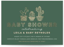 This is a green foil stamped baby shower invitation by Jessie Steury called Succulent Sweeties with foil-pressed printing on signature in standard.