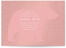 This is a pink foil stamped baby shower invitation by Baumbirdy called Classic Bear with foil-pressed printing on signature in standard.