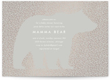 This is a grey foil stamped baby shower invitation by Baumbirdy called Classic Bear with foil-pressed printing on signature in standard.