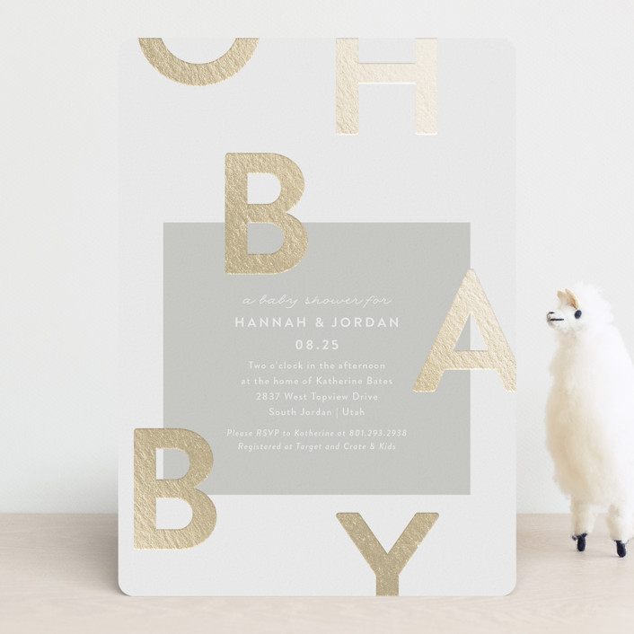 """Mod Baby"" - Foil-pressed Baby Shower Invitations in Pebble by Robert and Stella."
