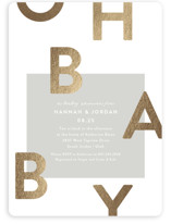This is a grey foil stamped baby shower invitation by Robert and Stella called Mod Baby with foil-pressed printing on signature in standard.
