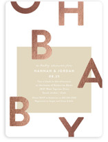 This is a brown foil stamped baby shower invitation by Robert and Stella called Mod Baby with foil-pressed printing on signature in standard.