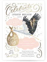 This is a pink foil stamped baby shower invitation by Alethea and Ruth called Celebrate Confetti Stork with foil-pressed printing on signature in standard.
