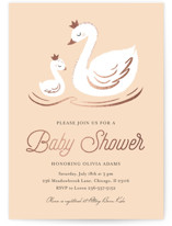 This is a orange foil stamped baby shower invitation by Marina Onoprienko called swan lake with foil-pressed printing on signature in standard.