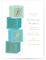 This is a blue foil stamped baby shower invitation by Jackie Crawford called Stacked Blocks with foil-pressed printing on signature in standard.