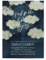 This is a blue foil stamped baby shower invitation by Creo Study called Vintage adventure with foil-pressed printing on signature in standard.