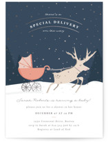 This is a orange foil stamped baby shower invitation by Creo Study called Oh Deer with foil-pressed printing on signature in standard.