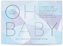 This is a blue foil stamped baby shower invitation by Ally Madison called Geometric Baby with foil-pressed printing on signature in standard.