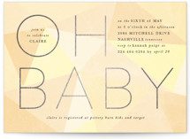 This is a yellow foil stamped baby shower invitation by Ally Madison called Geometric Baby with foil-pressed printing on signature in standard.