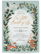 This is a green foil stamped baby shower invitation by Elly called Bundle of Joy with foil-pressed printing on signature in standard.