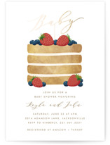 This is a red foil stamped baby shower invitation by Jen Banks of Ink and Letter called Berry Cake with foil-pressed printing on signature in standard.