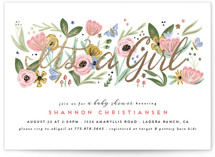 This is a pink foil stamped baby shower invitation by Joanna Griffin called Secret Garden with foil-pressed printing on signature in standard.