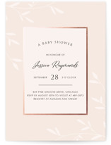 This is a pink foil stamped baby shower invitation by David Michuki called Gently Framed with foil-pressed printing on signature in standard.