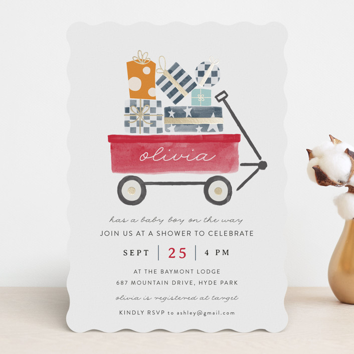 """Red Wagon"" - Whimsical & Funny Foil-pressed Baby Shower Invitations in Merlot by JeAnna Casper."