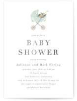This is a green foil stamped baby shower invitation by Juliana Zimmermann called Love and Flowers with foil-pressed printing on signature in standard.
