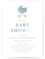 This is a blue foil stamped baby shower invitation by Juliana Zimmermann called Love and Flowers with foil-pressed printing on signature in standard.