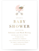 This is a pink foil stamped baby shower invitation by Juliana Zimmermann called Love and Flowers with foil-pressed printing on signature in standard.