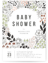 This is a green foil stamped baby shower invitation by Susanne Kasielke called Surrounded by flowers with foil-pressed printing on signature in standard.