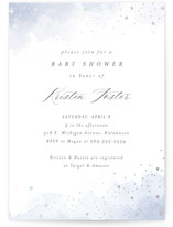 This is a blue foil stamped baby shower invitation by Pixel and Hank called Wash Watercolor with foil-pressed printing on signature in standard.