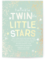 This is a green foil stamped baby shower invitation by Baumbirdy called Twinkle Twins with foil-pressed printing on signature in standard.
