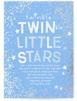 This is a blue foil stamped baby shower invitation by Baumbirdy called Twinkle Twins with foil-pressed printing on signature in standard.