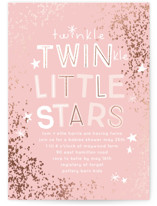This is a pink foil stamped baby shower invitation by Baumbirdy called Twinkle Twins with foil-pressed printing on signature in standard.
