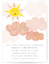 This is a pink foil stamped baby shower invitation by Ashlee Townsend called A Little Sunshine with foil-pressed printing on signature in standard.