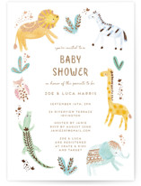 This is a brown foil stamped baby shower invitation by peetie design called animal accents with foil-pressed printing on signature in standard.