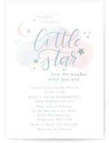 This is a grey foil stamped baby shower invitation by Itsy Belle Studio called Little Star with foil-pressed printing on signature in standard.
