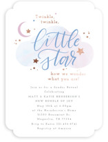 This is a blue foil stamped baby shower invitation by Itsy Belle Studio called Little Star with foil-pressed printing on signature in standard.