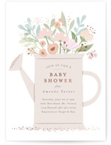 This is a pink foil stamped baby shower invitation by Karidy Walker called watering can bouquet with foil-pressed printing on signature in standard.