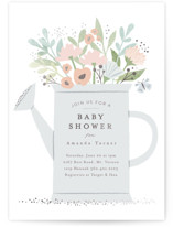 This is a grey foil stamped baby shower invitation by Karidy Walker called watering can bouquet with foil-pressed printing on signature in standard.