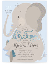 This is a blue foil stamped baby shower invitation by Carrie ONeal called Peanuts and Popcorn with foil-pressed printing on signature in standard.
