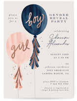 This is a blue foil stamped baby shower invitation by Joanna Griffin called Gender Reveal Balloons with foil-pressed printing on signature in standard.