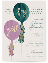This is a green foil stamped baby shower invitation by Joanna Griffin called Gender Reveal Balloons with foil-pressed printing on signature in standard.