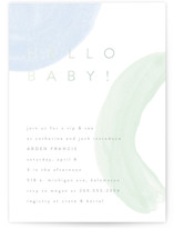 This is a blue foil stamped baby shower invitation by Pixel and Hank called Hello Baby Shapes with foil-pressed printing on signature in standard.